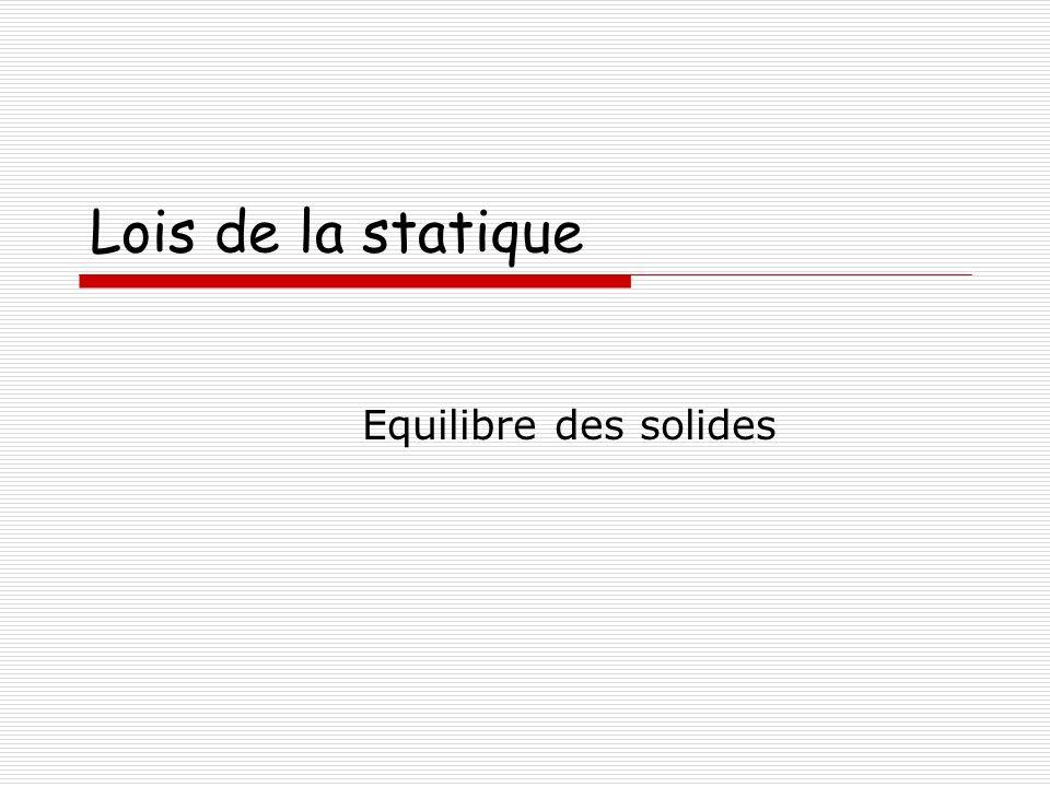 Lois de la statique Equilibre des solides