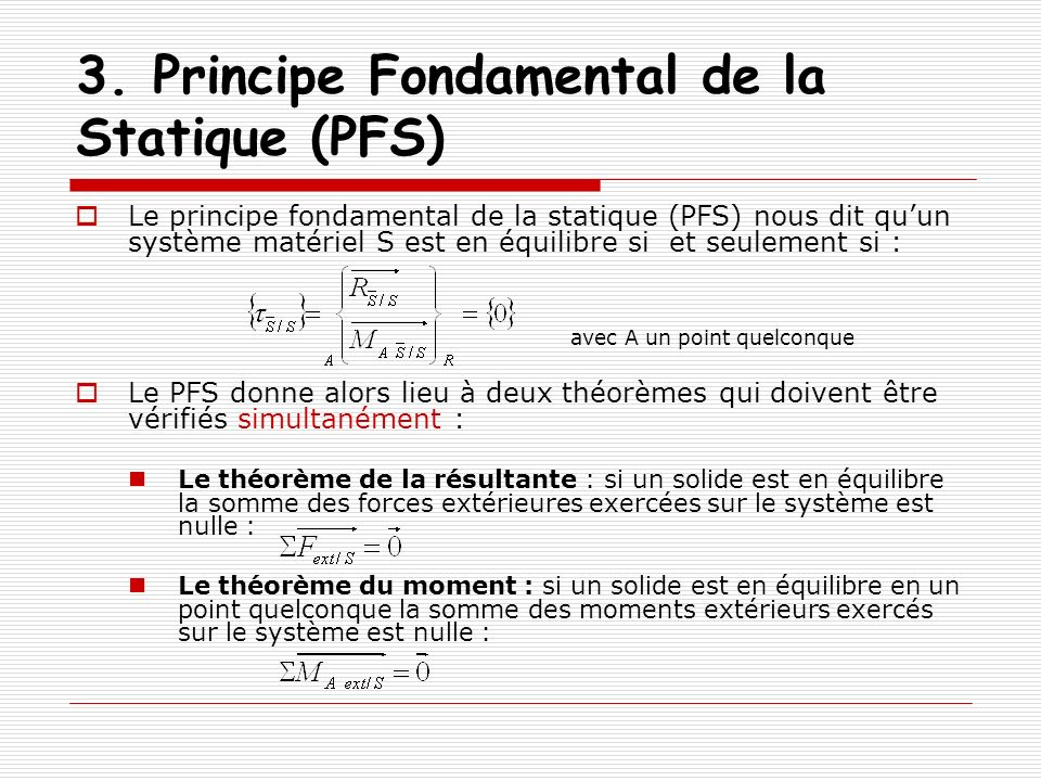 3. Principe Fondamental de la Statique (PFS)