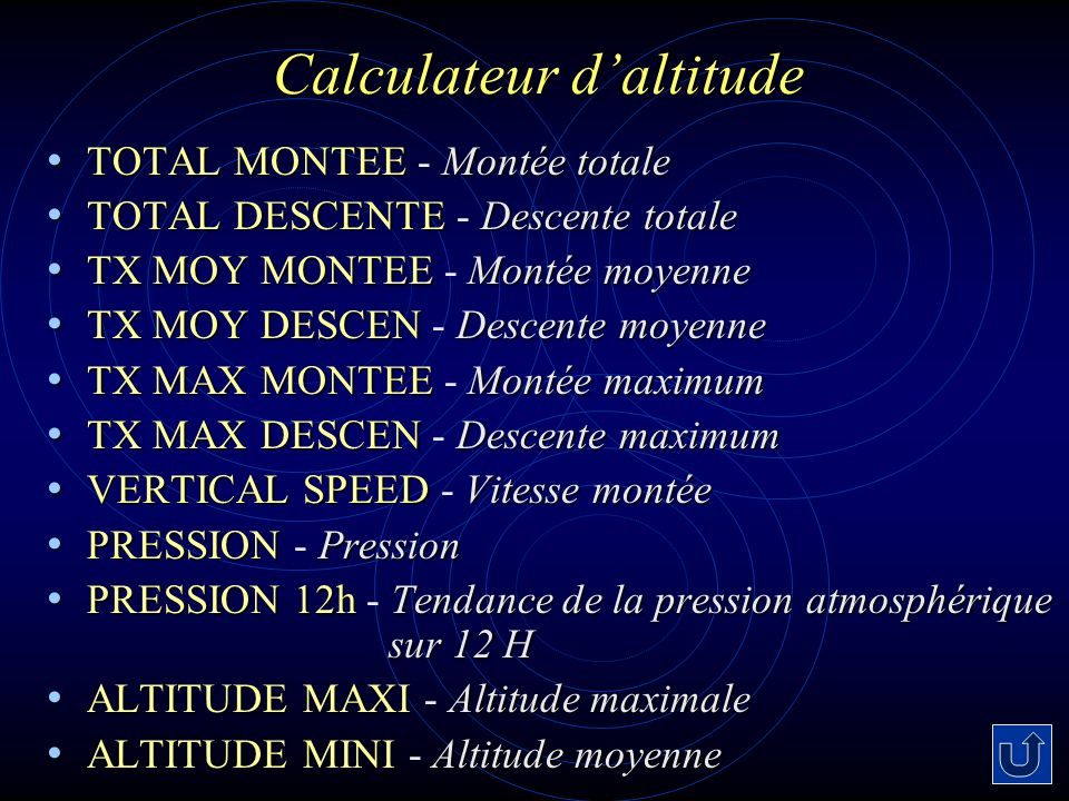 Calculateur d'altitude