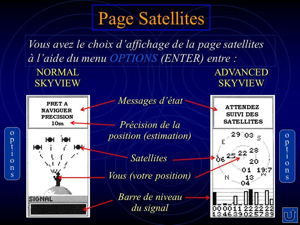 Page Satellites Vous avez le choix d'affichage de la page satellites à l'aide du menu OPTIONS (ENTER) entre :