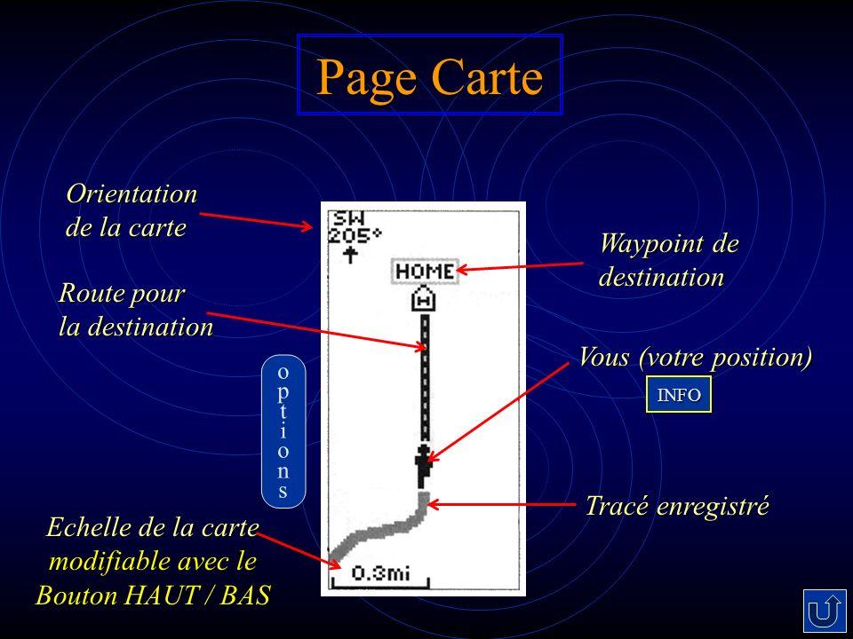 Echelle de la carte modifiable avec le Bouton HAUT / BAS