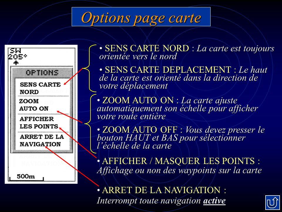 Options page carte SENS CARTE NORD : La carte est toujours orientée vers le nord.