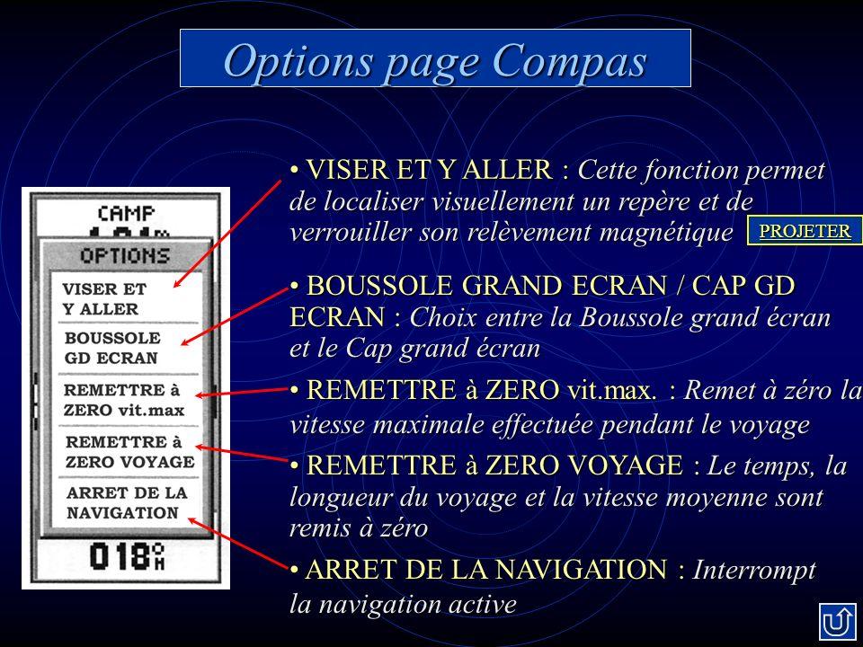 Options page Compas VISER ET Y ALLER : Cette fonction permet de localiser visuellement un repère et de verrouiller son relèvement magnétique.