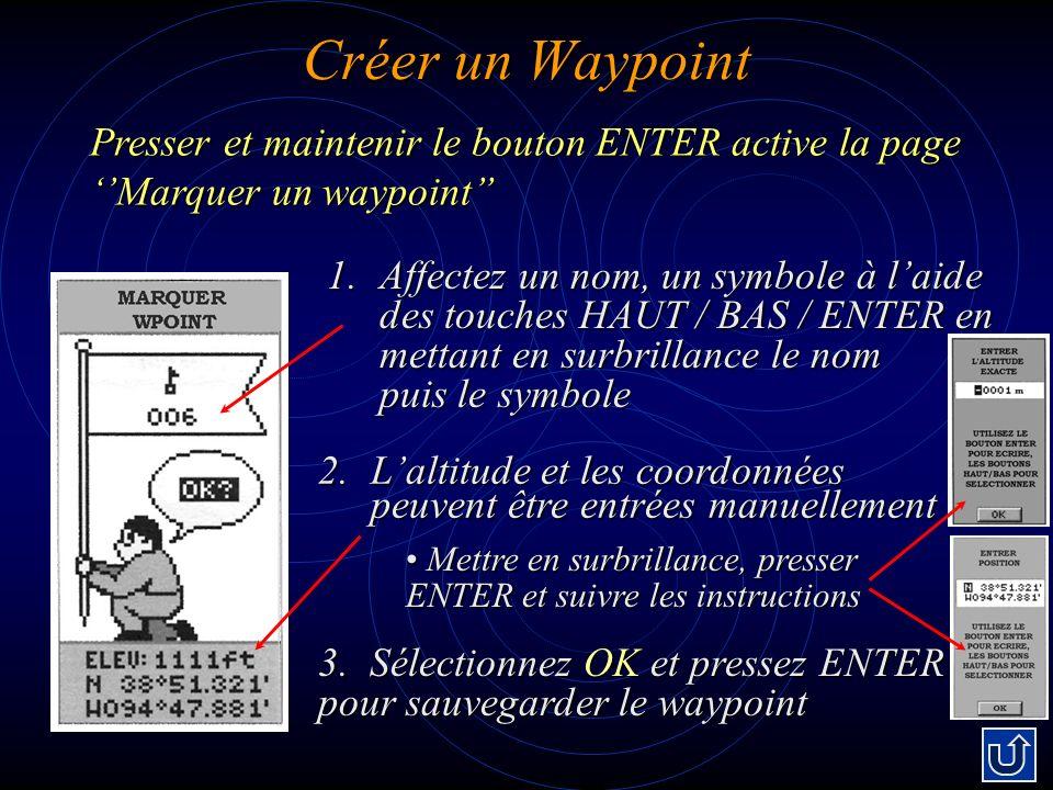 Créer un Waypoint Presser et maintenir le bouton ENTER active la page ''Marquer un waypoint''