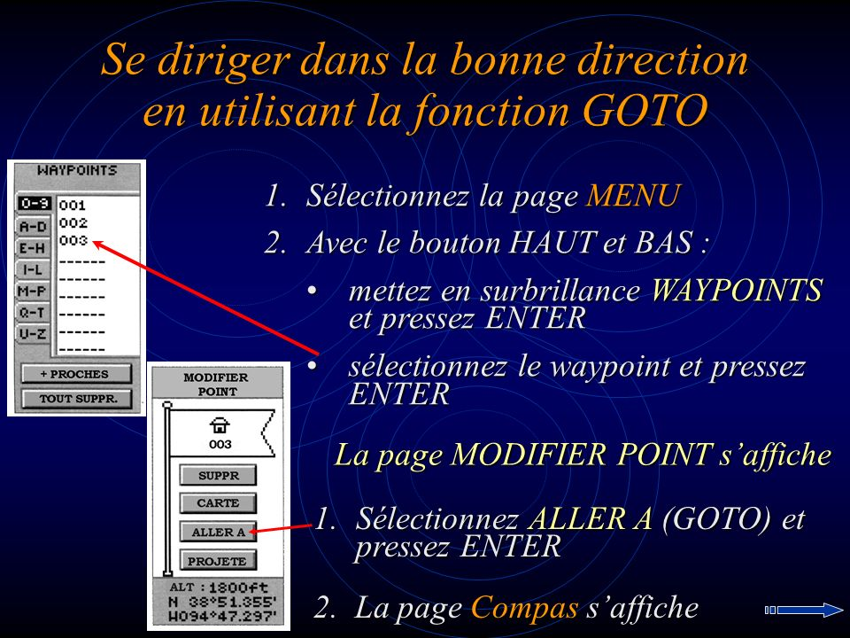 Se diriger dans la bonne direction en utilisant la fonction GOTO