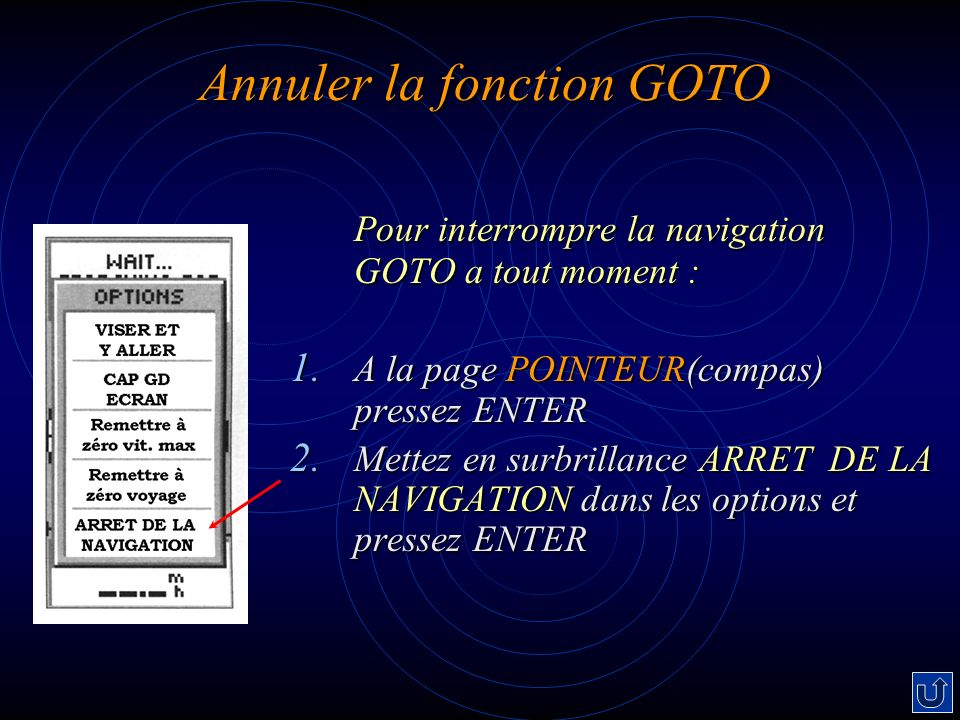 Annuler la fonction GOTO