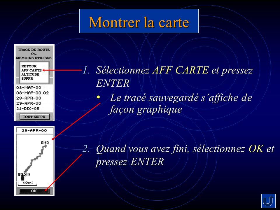 Montrer la carte 1. Sélectionnez AFF CARTE et pressez ENTER