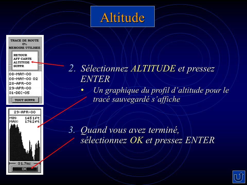 Altitude Sélectionnez ALTITUDE et pressez ENTER