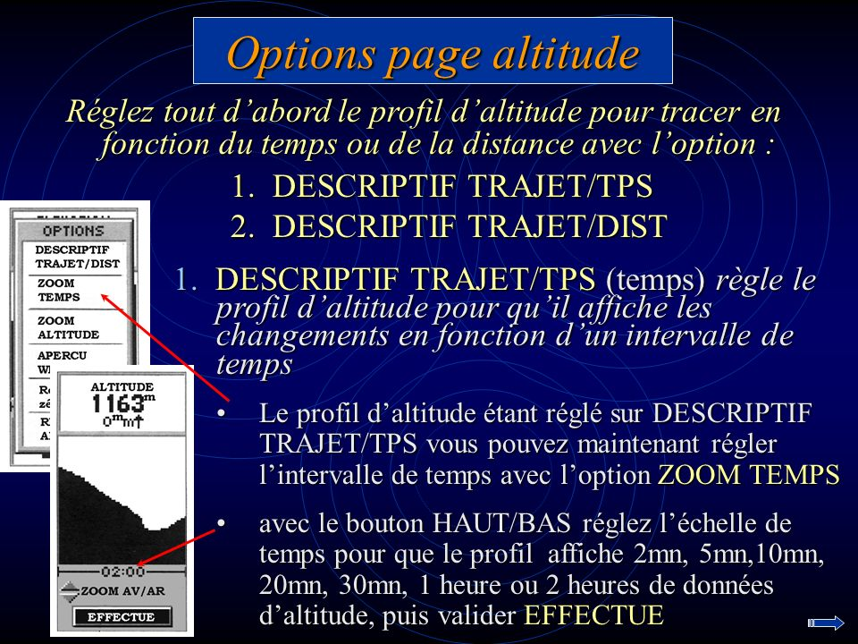 Options page altitude 1. DESCRIPTIF TRAJET/TPS