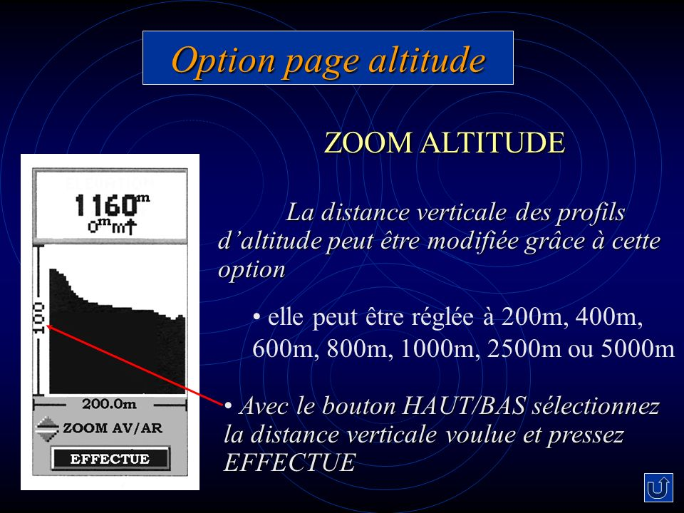 Option page altitude ZOOM ALTITUDE