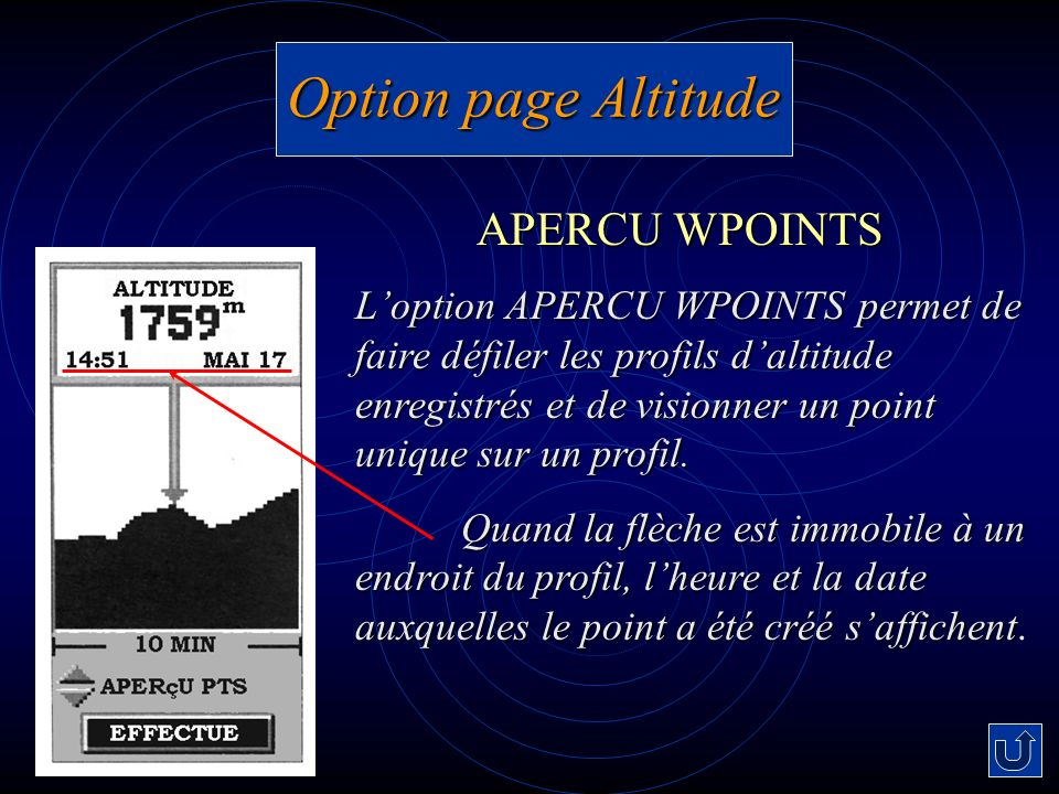 Option page Altitude APERCU WPOINTS