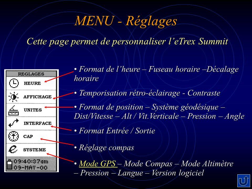 Cette page permet de personnaliser l'eTrex Summit