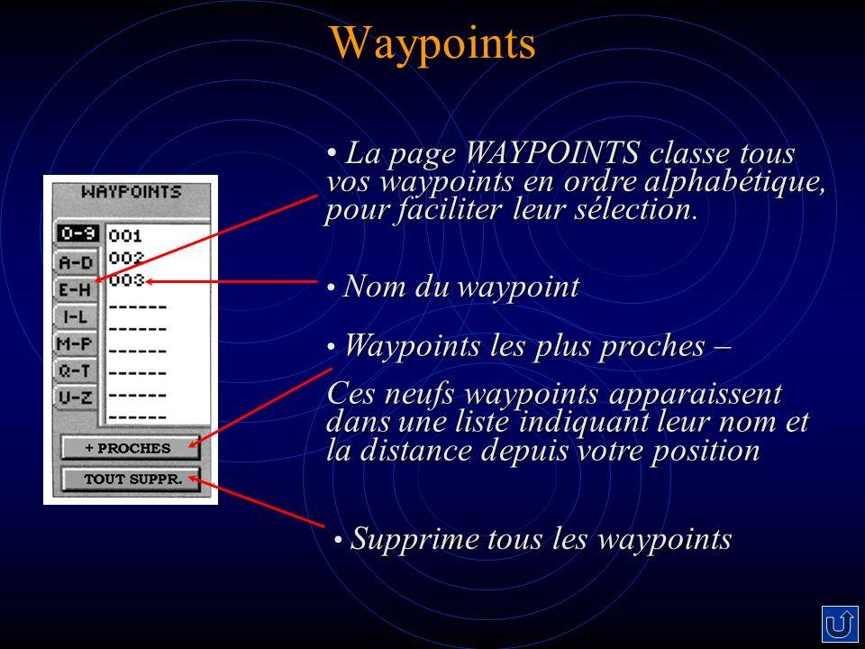 Waypoints La page WAYPOINTS classe tous vos waypoints en ordre alphabétique, pour faciliter leur sélection.