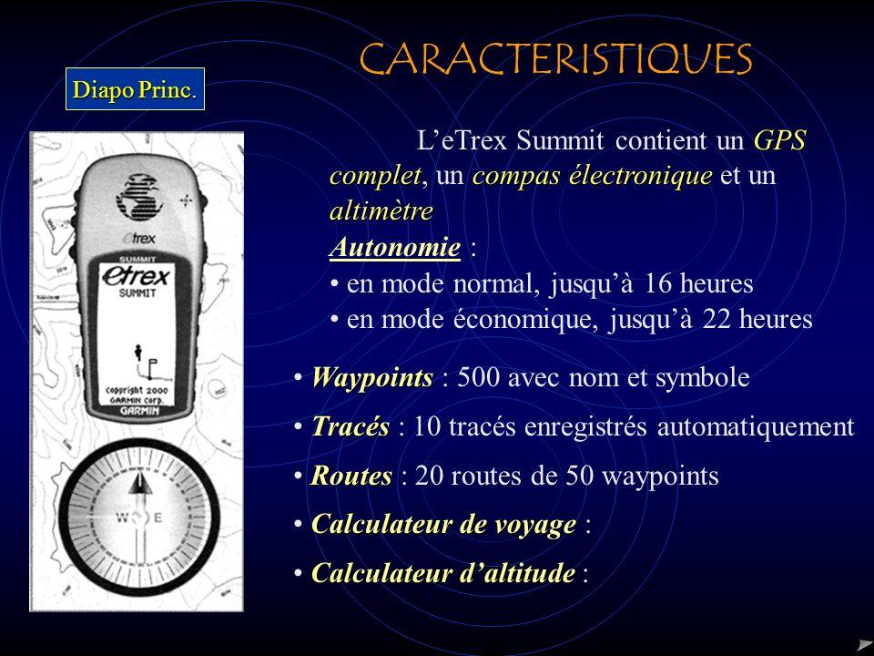 CARACTERISTIQUES Diapo Princ. L'eTrex Summit contient un GPS complet, un compas électronique et un altimètre.