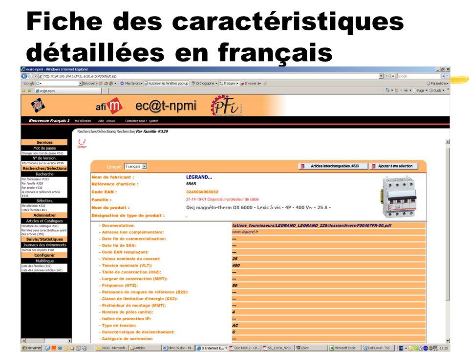 Fiche des caractéristiques détaillées en français