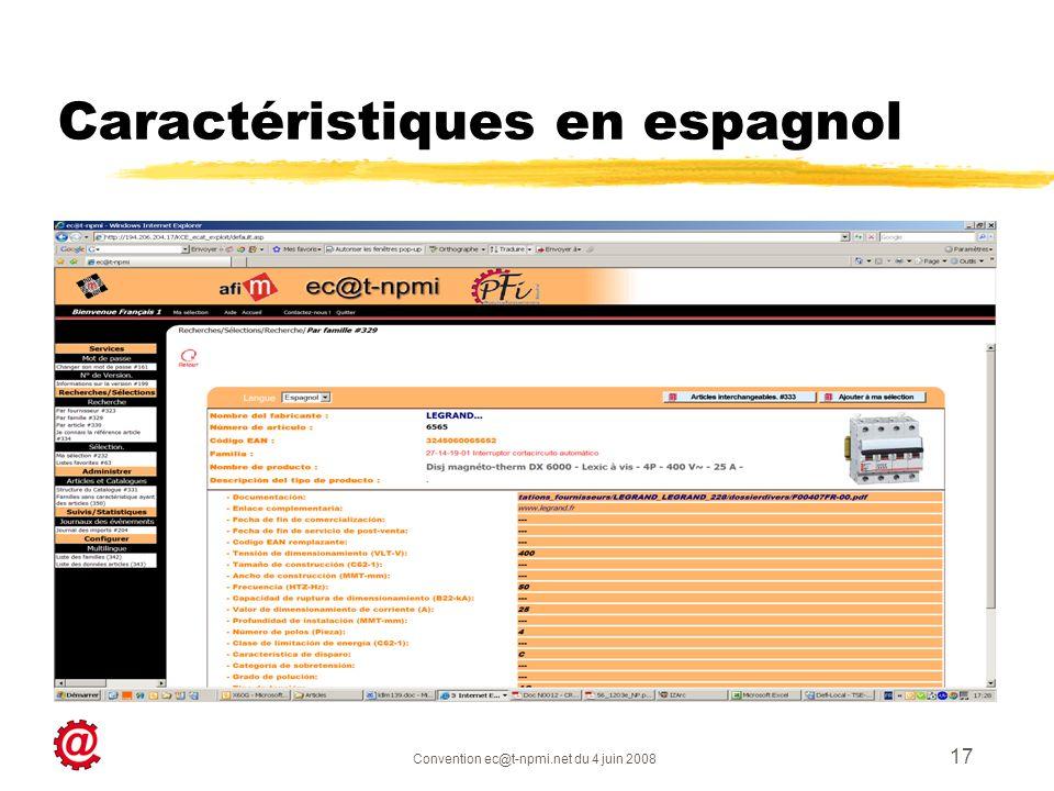 Caractéristiques en espagnol