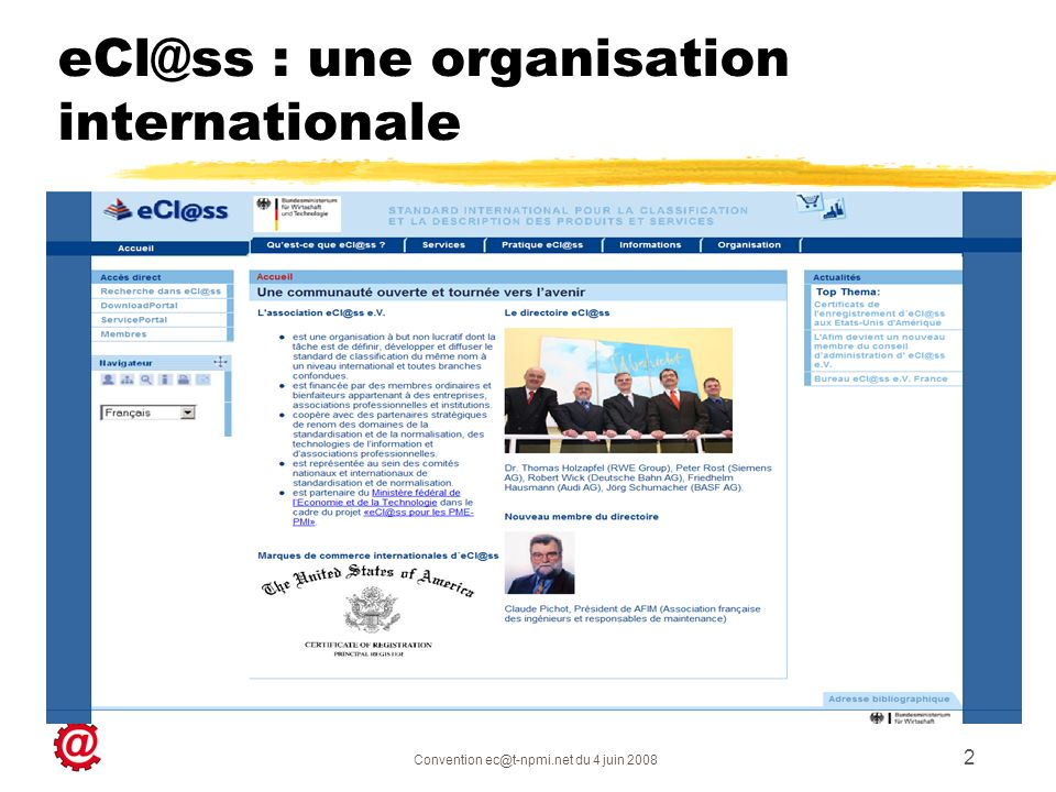 eCl@ss : une organisation internationale