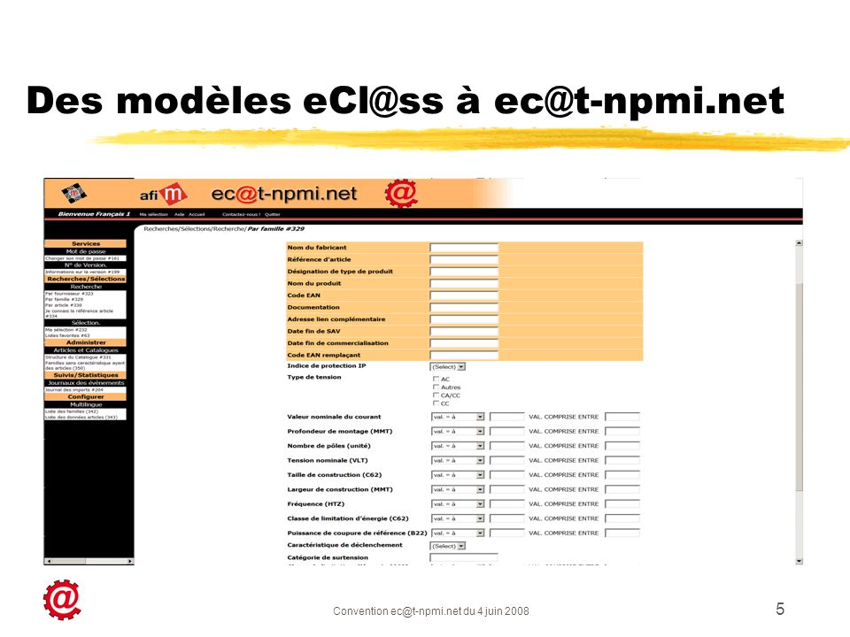 Des modèles eCl@ss à ec@t-npmi.net