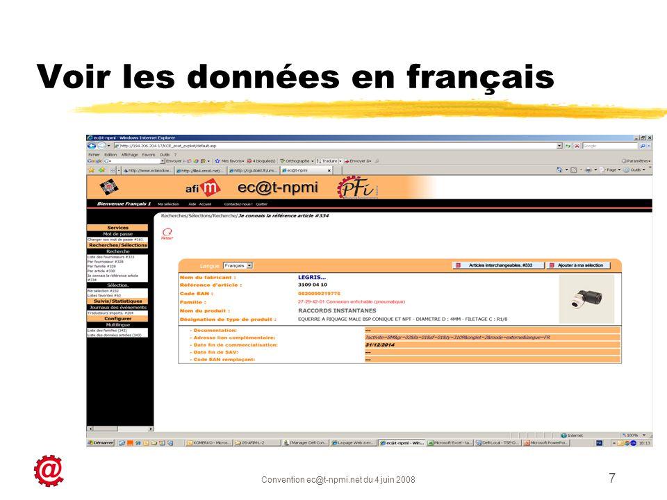 Voir les données en français