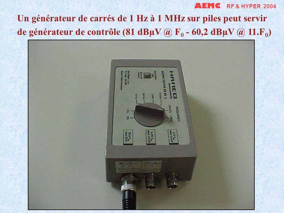 AEMC RF & HYPER 2004 Un générateur de carrés de 1 Hz à 1 MHz sur piles peut servir de générateur de contrôle (81 dBµV @ F0 - 60,2 dBµV @ 11.F0)