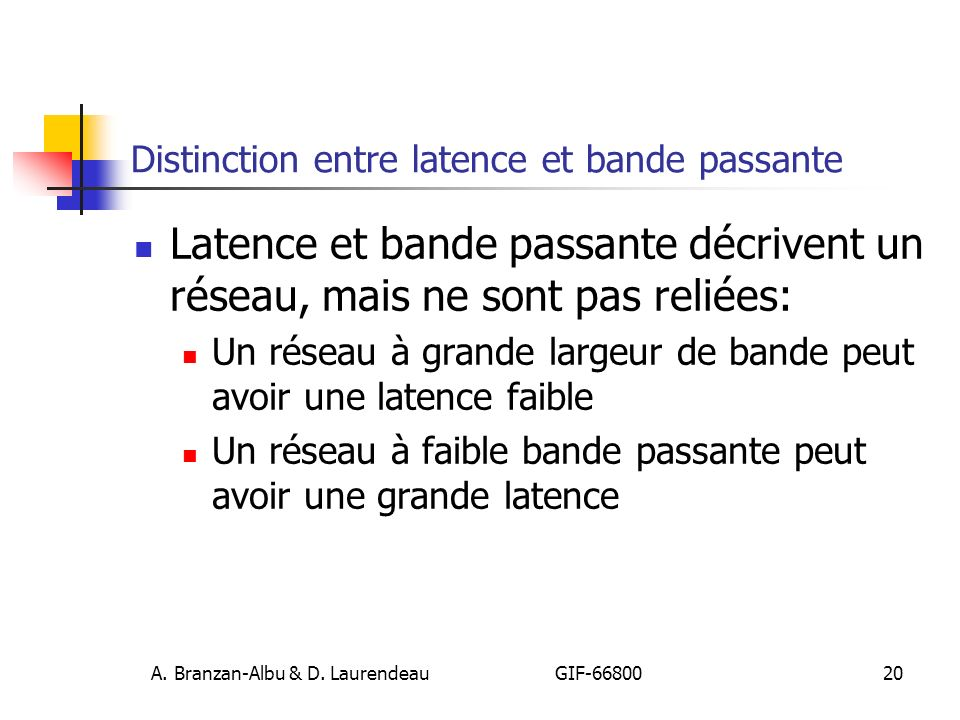 Distinction entre latence et bande passante