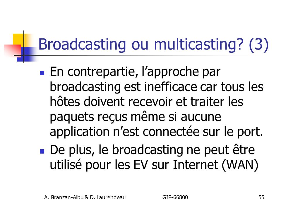 Broadcasting ou multicasting (3)