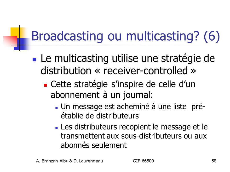 Broadcasting ou multicasting (6)