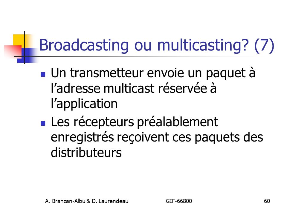 Broadcasting ou multicasting (7)