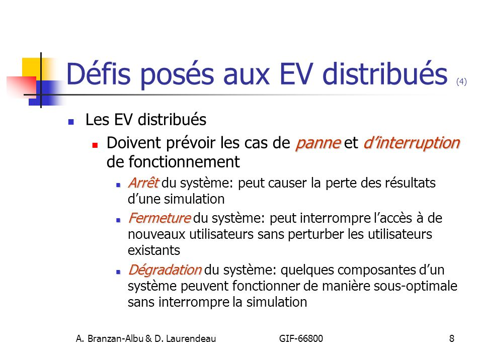 Défis posés aux EV distribués (4)