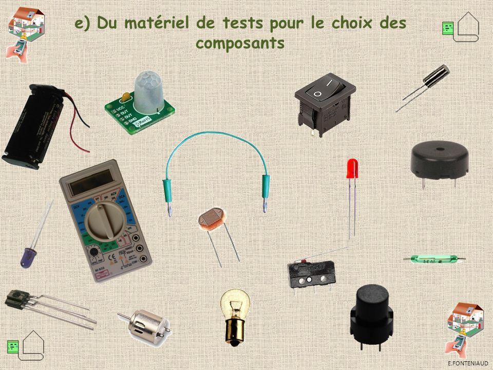 e) Du matériel de tests pour le choix des composants