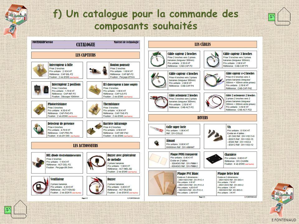 f) Un catalogue pour la commande des composants souhaités