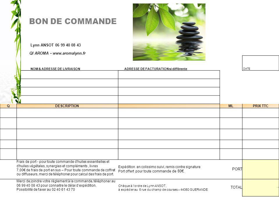BON DE COMMANDE Lynn ANSOT 06 99 40 08 43 QI AROMA - www.aromalynn.fr