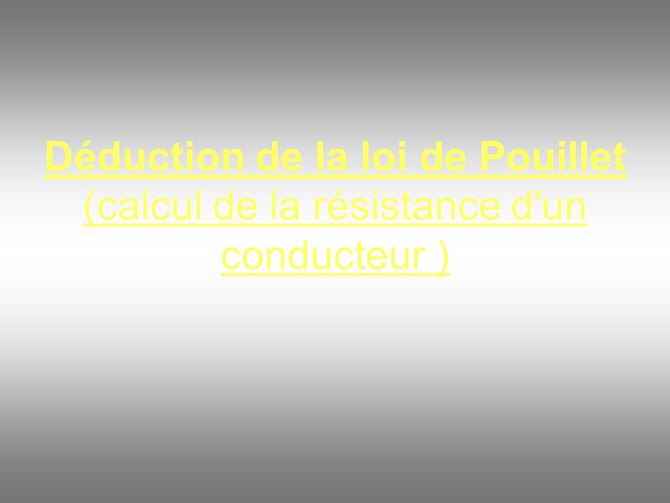 Déduction de la loi de Pouillet (calcul de la résistance d un conducteur )