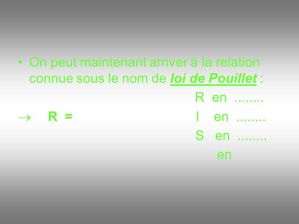 On peut maintenant arriver à la relation connue sous le nom de loi de Pouillet :