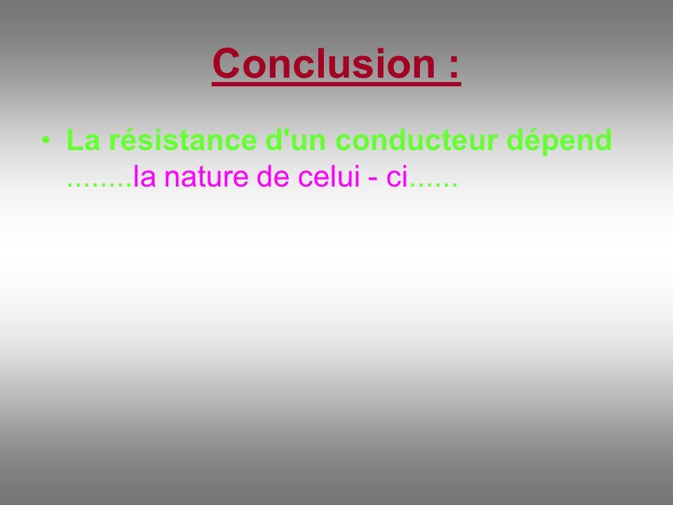 Conclusion : La résistance d un conducteur dépend ........la nature de celui - ci......