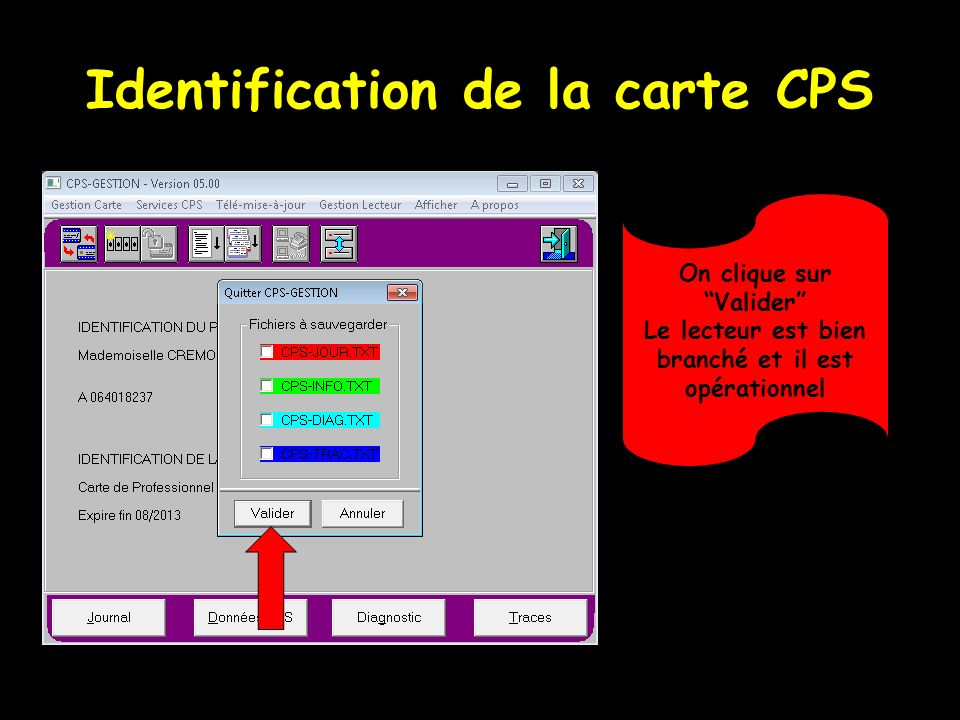 Identification de la carte CPS