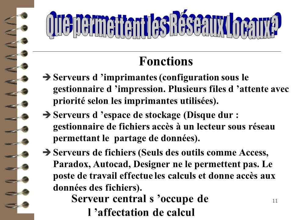 Serveur central s 'occupe de l 'affectation de calcul