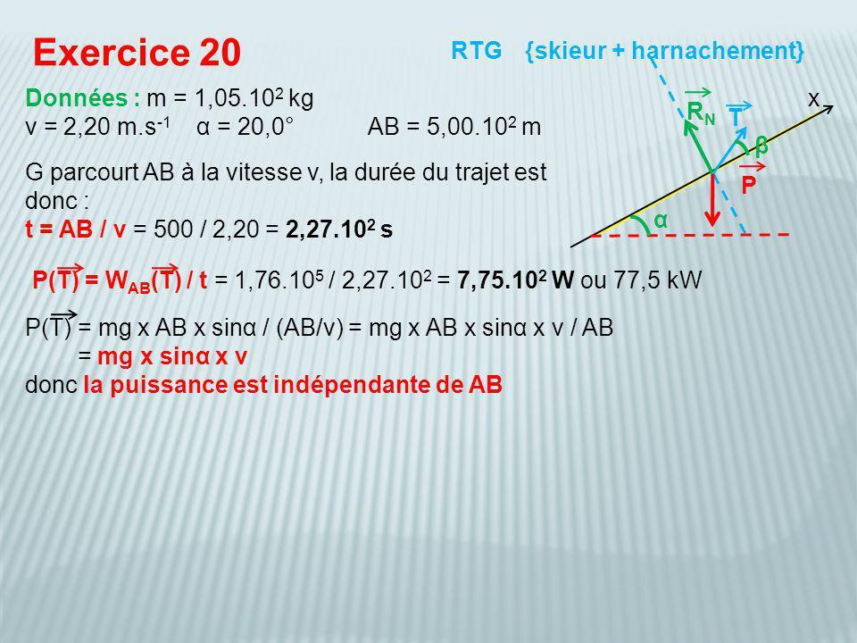 Exercice 20 RTG {skieur + harnachement} Données : m = 1,05.102 kg