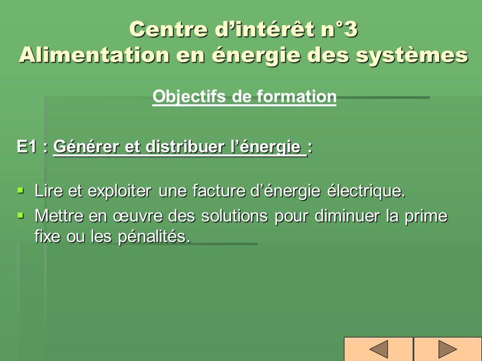 Centre d'intérêt n°3 Alimentation en énergie des systèmes