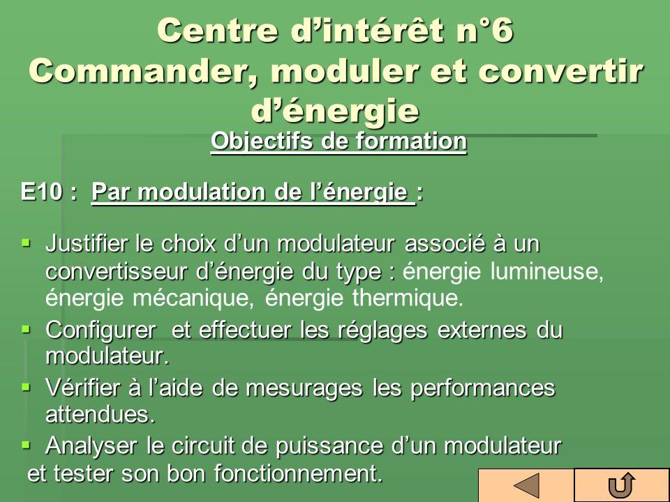 Centre d'intérêt n°6 Commander, moduler et convertir d'énergie