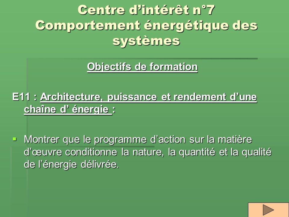 Centre d'intérêt n°7 Comportement énergétique des systèmes