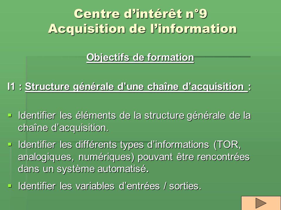 Centre d'intérêt n°9 Acquisition de l'information