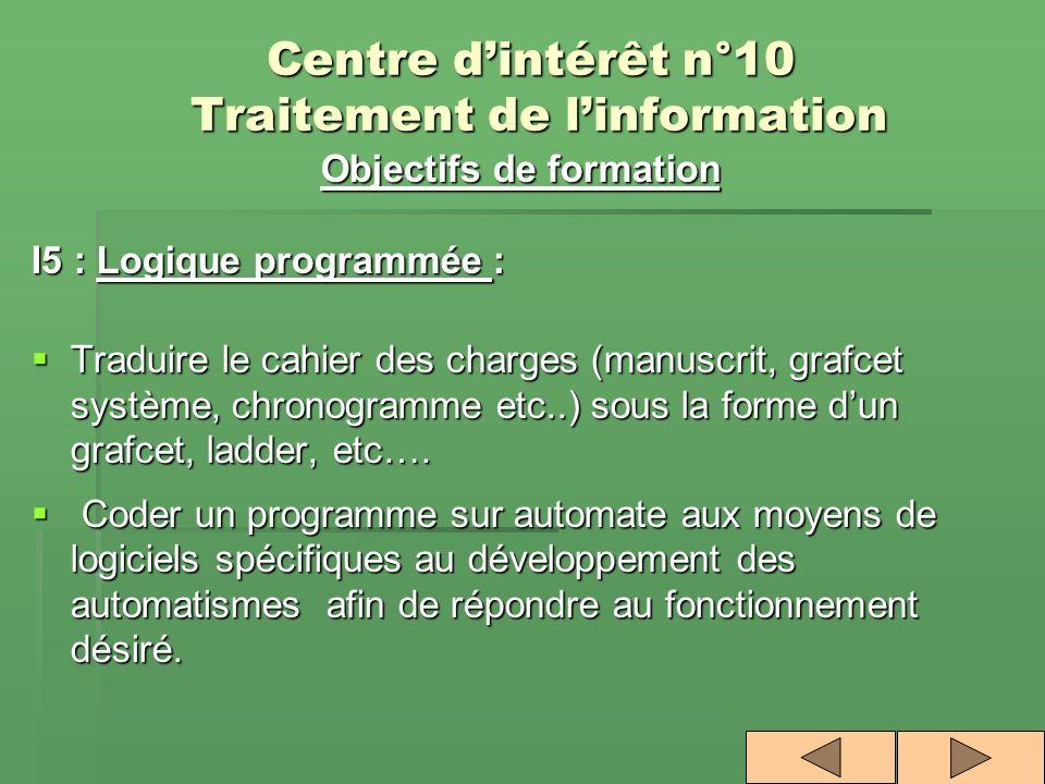 Centre d'intérêt n°10 Traitement de l'information