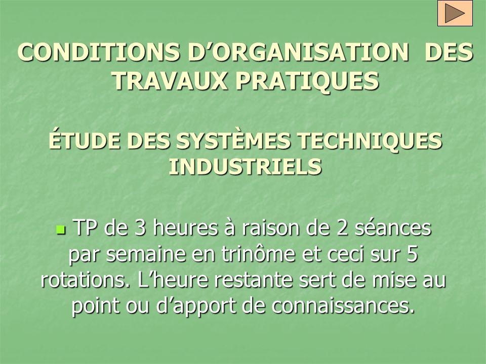 CONDITIONS D'ORGANISATION DES TRAVAUX PRATIQUES ÉTUDE DES SYSTÈMES TECHNIQUES INDUSTRIELS