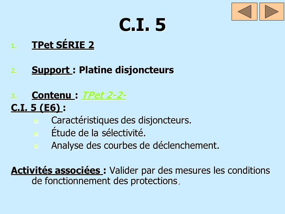 C.I. 5 TPet SÉRIE 2 Support : Platine disjoncteurs Contenu : TPet 2-2-