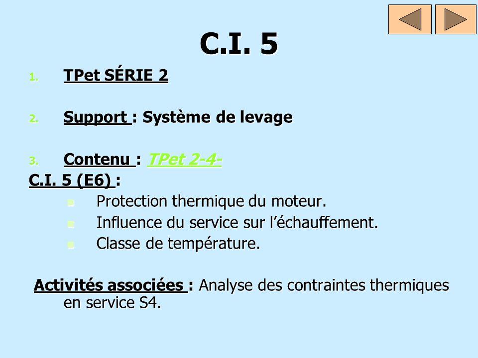C.I. 5 TPet SÉRIE 2 Support : Système de levage Contenu : TPet 2-4-