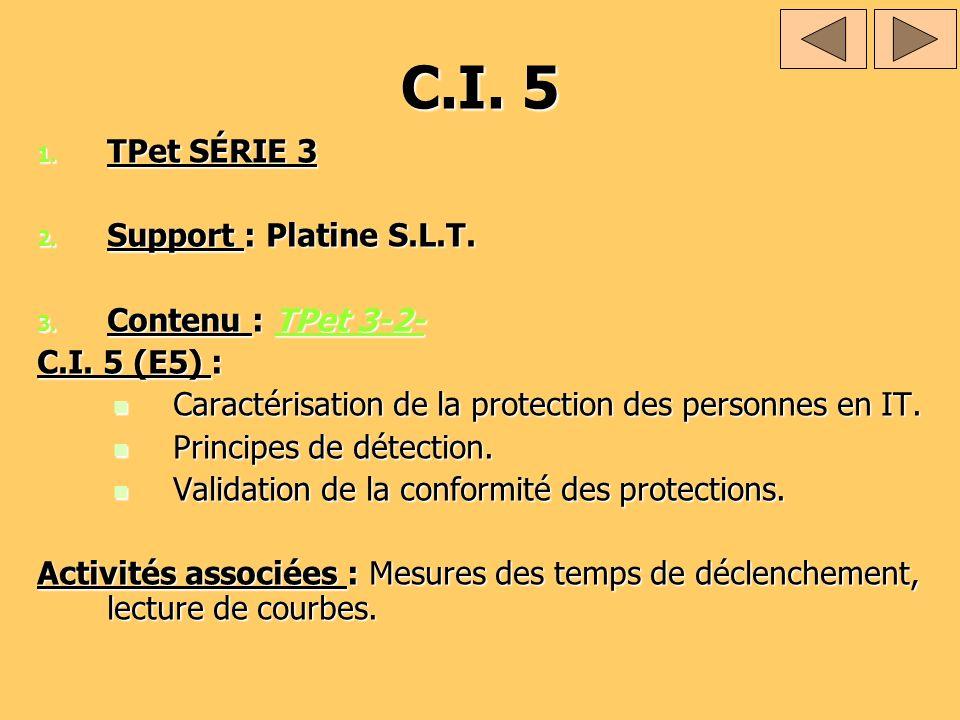 C.I. 5 TPet SÉRIE 3 Support : Platine S.L.T. Contenu : TPet 3-2-