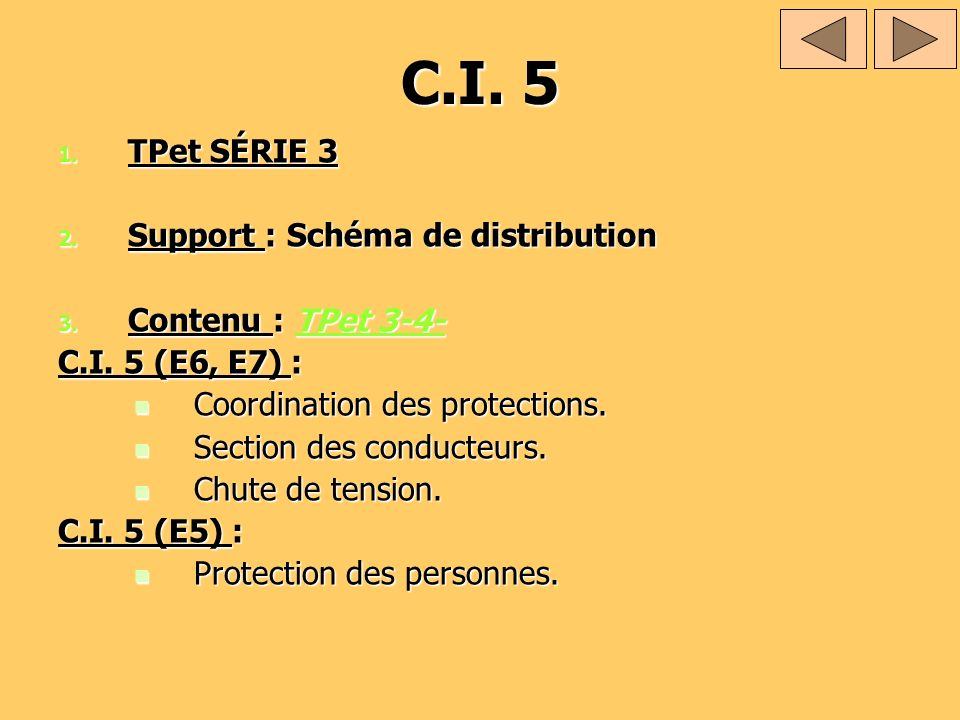 C.I. 5 TPet SÉRIE 3 Support : Schéma de distribution