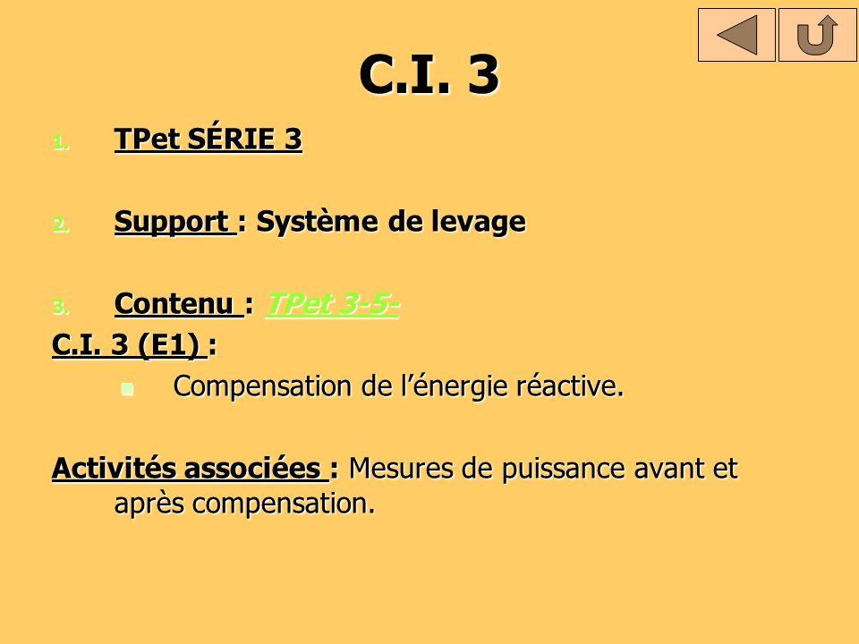 C.I. 3 TPet SÉRIE 3 Support : Système de levage Contenu : TPet 3-5-