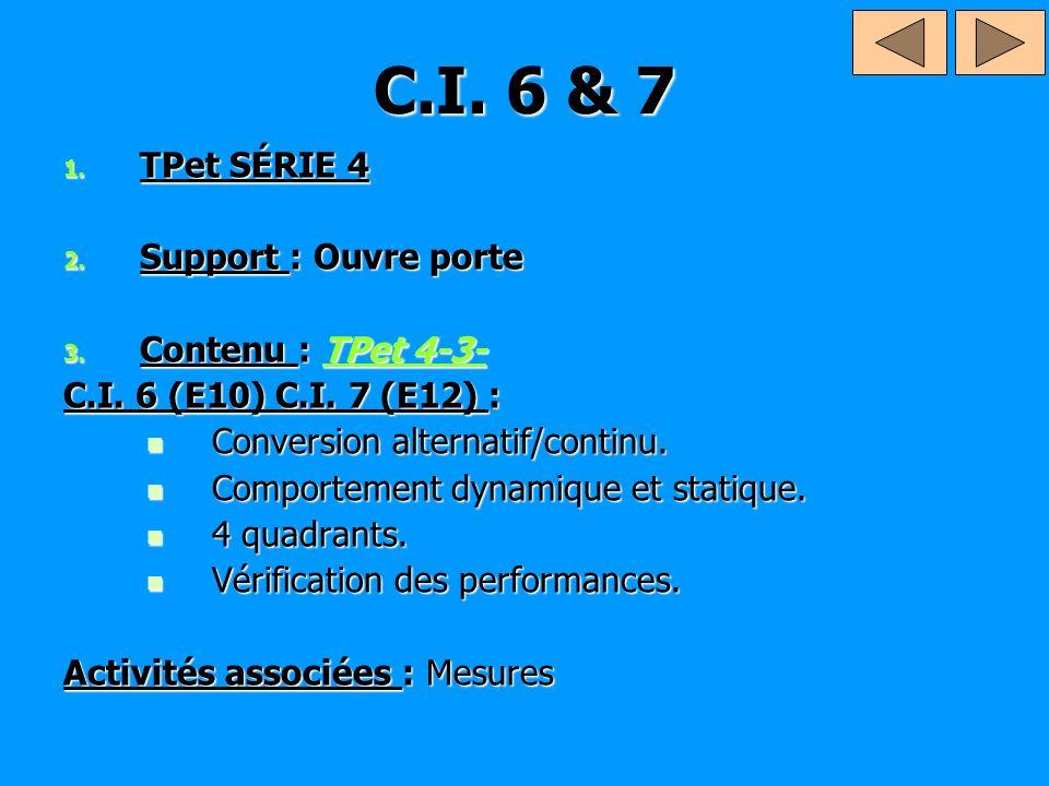 C.I. 6 & 7 TPet SÉRIE 4 Support : Ouvre porte Contenu : TPet 4-3-
